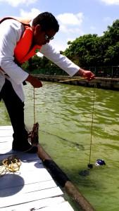 2907-toman muestras del agua verde de la laguna del carpintero